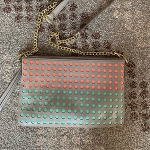 Fossil dot crossbody gray/coral/mint